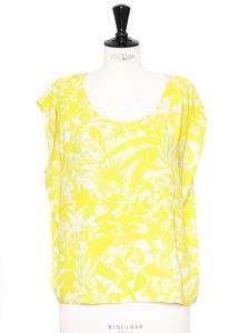 Top sans manches dos ouvert imprimé floral jaune blanc Px boutique 65€ Taille 38