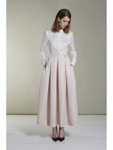 Jupe longue en jacquard rose poudre et doré motif scallop NEUVE Px boutique 535€ Taille 36