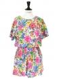 Robe manches courtes taille élastique en coton imprimé fleuri multicolore Taille 36/38