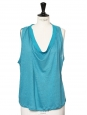 Celadon green blue linen sleeveless shirt Retail price €300 Size 36