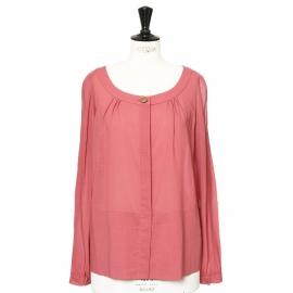 Raspberry pink light wool long sleeves shirt Retail price €650 Size 38