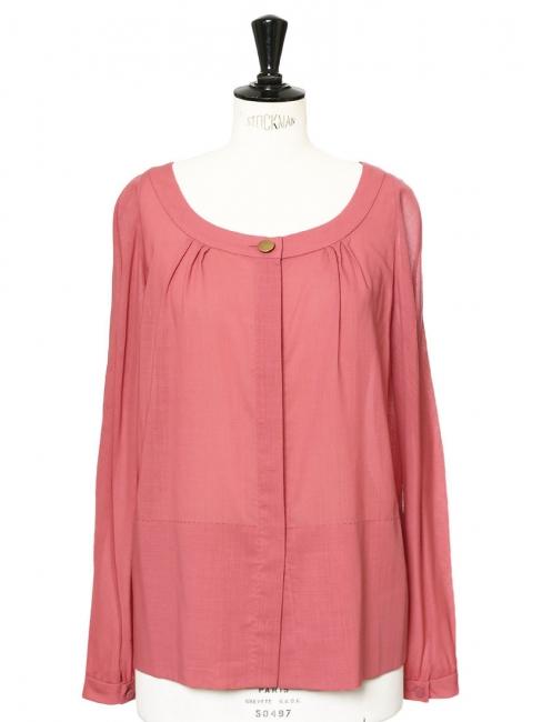 Chemise légère manches longues en laine rose framboise Px boutique 650€ Taille 38