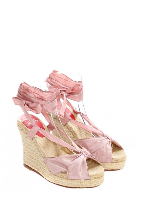 Pale pink silk espadrille wedge sandals NEW Retail price €450 Size 38
