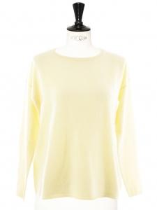 Pull très doux en cachemire de luxe jaune pastel Px boutique 280€ Taille 36