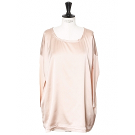 Blush pink satin and jersey long sleeves blouse Size 38