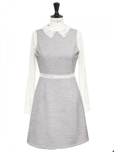 SALOMEE grey dress with crochet lace sleeves and collar Retail price €245 Size 36