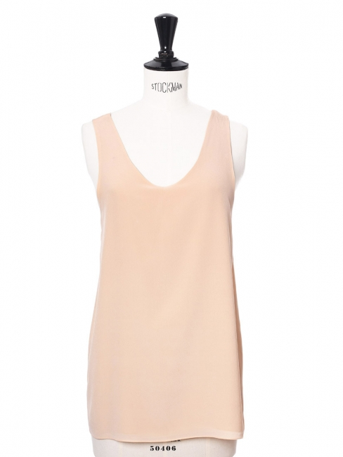 ICONIC Light beige silk crepe tank top Retail price €390 Size 36