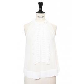 Top sans manche à volants en mousseline de soie et gaze de coton blanc Px boutique 550€ Taille 34