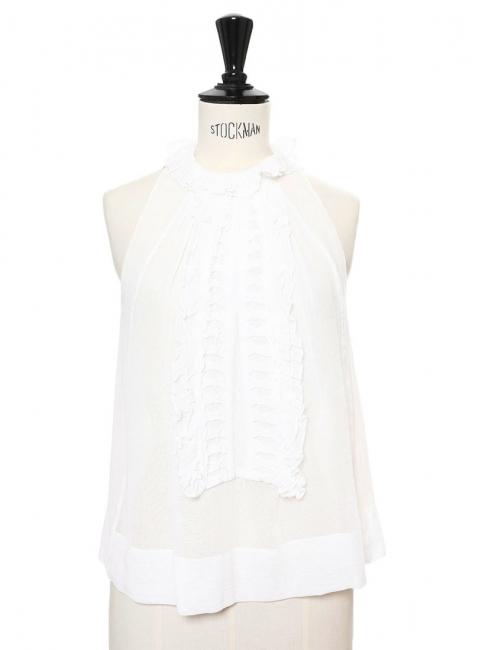 White cotton gaze and silk chiffon ruffled sleeveless top Retail price €550 Size 34