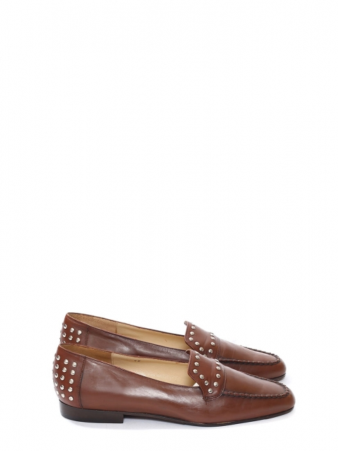 Dark brown loafers with silver studs Size 36.5
