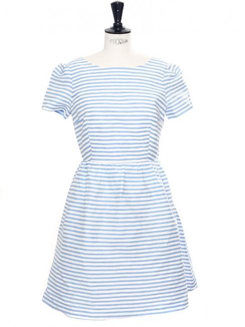 Robe manches courtes dos croisé en coton et lin rayée bleu ciel et blanc Px  boutique 034eb170a7a