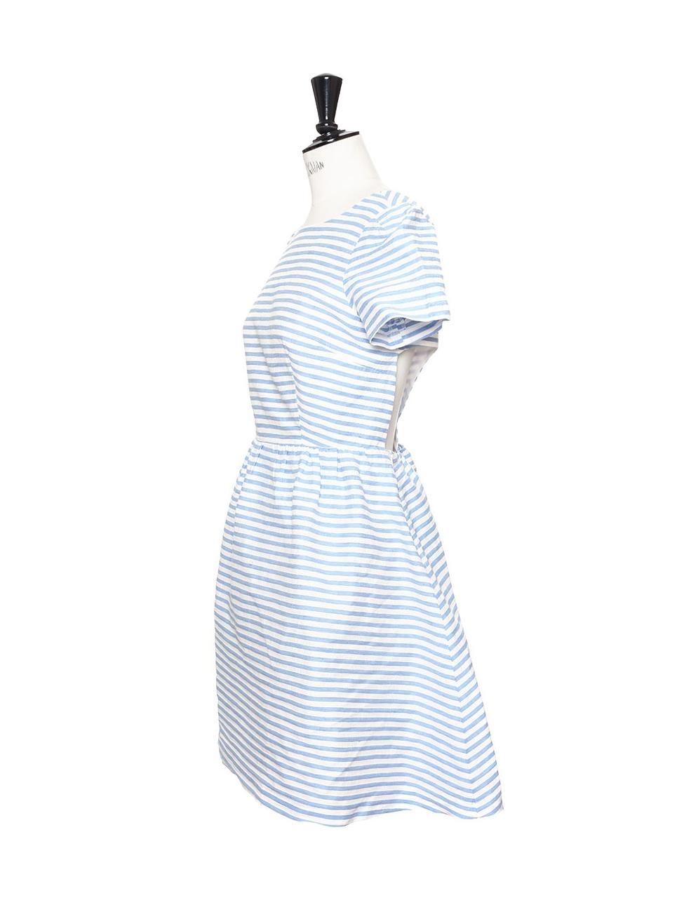 Louise Paris - TARA JARMON Robe manches courtes dos croisé en coton et lin  rayée bleu ciel et blanc Px boutique 250€ Taille 38 40 797628168b7