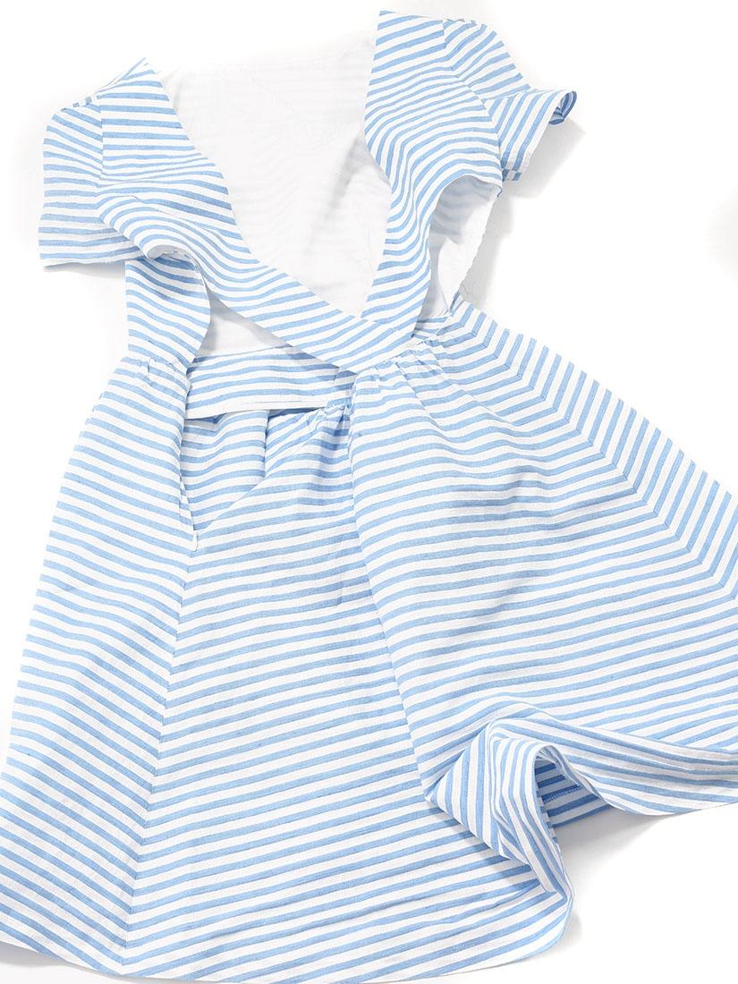 ... Robe manches courtes dos croisé en coton et lin rayée bleu ciel et  blanc Px boutique ... 453755073e1