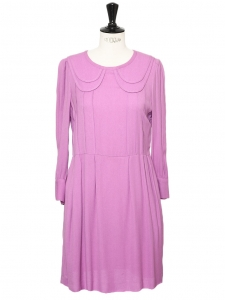 SEE BY CHLOE Robe manches longues babydoll en crêpe de soie violet rose col claudine Taille 36