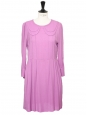 Robe col claudine manches longues babydoll en crêpe violet Px boutique 450€ Taille 36
