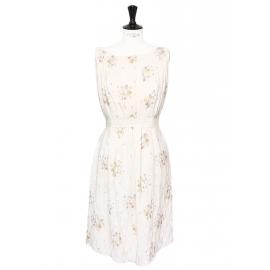 Robe en soie plissée écru à motifs Prix boutique 2000€ Taille 38