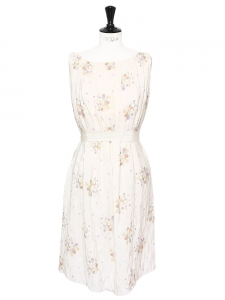 Off white silk pleated dress Retail price around €2000 Size 38