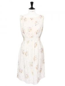 Off white silk pleated dress Retail price around €2000 Size 38