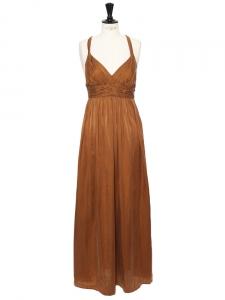 Cognac brown silk and cotton décolleté and open back maxi dress Retail price €400 Size 36