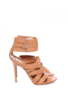 Powder beige nappa leather strappy ankle cuff heels NEW Retail price $995 Size 37.5