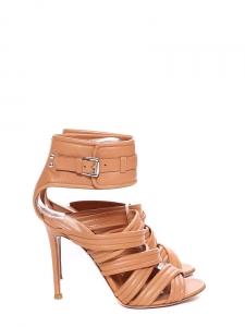 Sandales à talon multi-straps en cuir nappa beige nude NEUVES Px boutique 950€ Taille 37,5