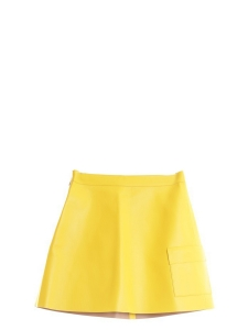 Banana yellow faux leather A-line skirt Size S