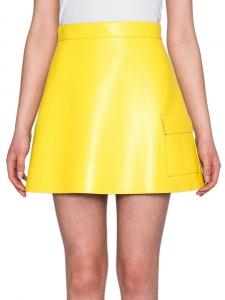 Jupe trapèze taille haute imitation cuir jaune banane Taille 36