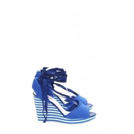 Cobalt blue cotton canvas striped wedge sandals Retail price €500 Size 39