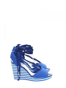 Cobalt blue cotton canvas striped wedge sandals Retail price €500 Size 39