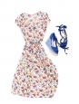 Sandales compensées en toile bleu cobalt et talon à rayures NEUVES Px boutique 500€ Taille 39