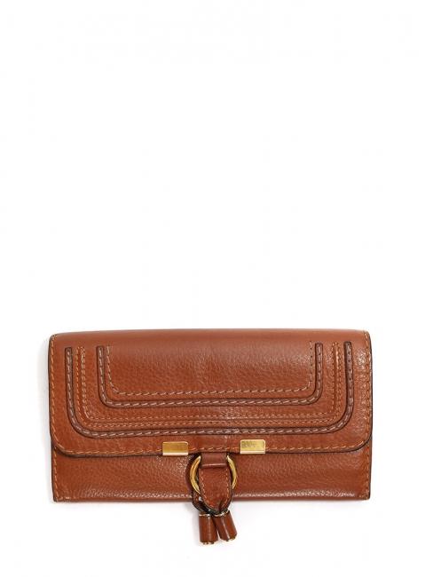 Portefeuille long Marcie en cuir grainé marron cognac Px boutique 360€
