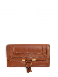 CHLOE Portefeuille long Marcie en cuir grainé marron cognac Px boutique 360€