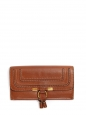 Cognac brown textured leather MARCIE long wallet Retail price €360