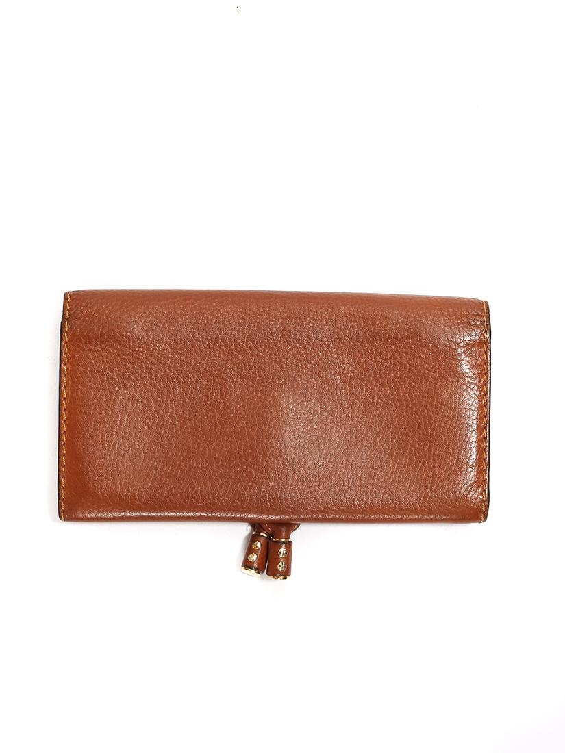 ... CHLOE Portefeuille long Marcie en cuir grainé marron cognac Px boutique  360€ ... 653691f5791
