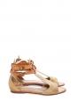 Sandales plates bout ouvert en cuir embossé doré et caramel Px boutique 500€ Taille 39