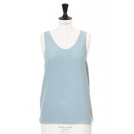 Sky blue silk crepe tank top Retail price €390 Size 36