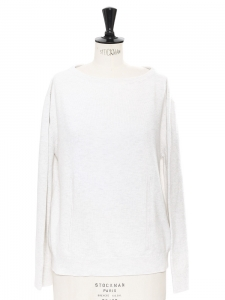 Light heather grey cashmere and cotton long sleeved sweater Retail price €800 Size 36