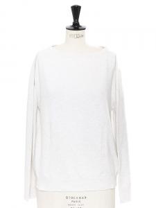 Pull col rond manches longues en cachemire et coton gris clair Px boutique 800€ Taille 36