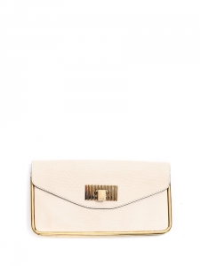 SALLY Cream grained leather clutch bag with gold brass lock Retail price €850