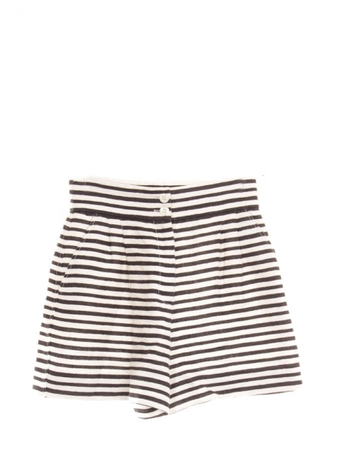 High waist black and white stripes linen shorts Retail price €445 Size 36