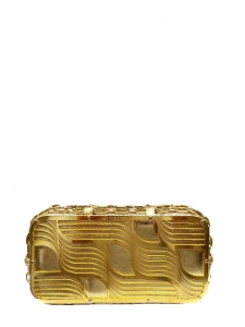 Gold snakeskin leather and metallic pattern evening clutch Retail price €500