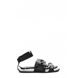 Black leather studded gladiator flat sandals Retail price €450 Size 38