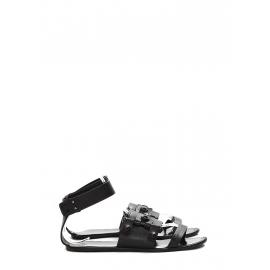 Sandales plates gladiateur en cuir noir Px boutique 450€ Taille 38