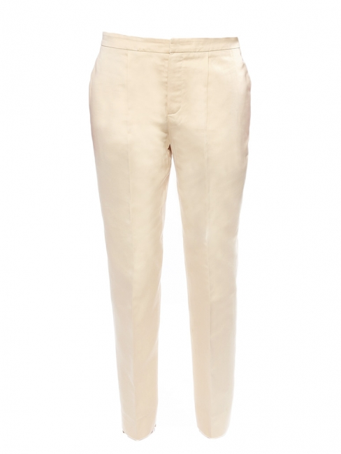 Champagne beige silk and cotton straight cut pants Retail price €550 Size 38