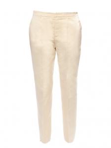 Pantalon droit en coton et soie beige champagne Px boutique 550€ Taille 38