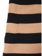 Robe sans manche en cachemire et laine rayé camel et noir Px boutique 900€ Taille 36/38