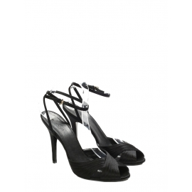 Black satin open toe heeled sandals with ankle strap NEW Retail price €500 Size 38