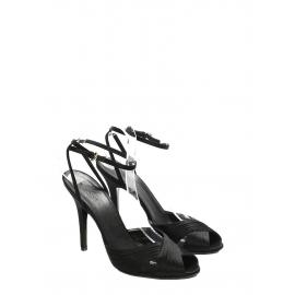 Sandales à talon et bride cheville en satin noir NEUVES Prix boutique 500€ Taille 38