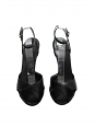 Sandales à talon bout ouvert en satin noir Px boutique 500€ Taille 38