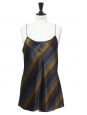 Blue, khaki green and black silk satin spaghetti strap tank top Retail price €200 Size 36/38